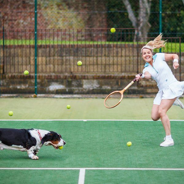Victoria Melody and Major Tom playing tennis